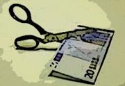 Immagine forbice che taglia banconota euro