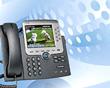 Immagine telefono IP Phone su sfondo azzurro